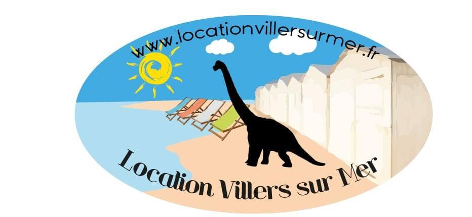 locationvillersurmer logo il représente notre diplodocus symbole de notre ville la plage et sont sable fin et c'est jolie cabines de plage